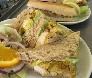 Sea Lane Cafe coronation chicken sandwich